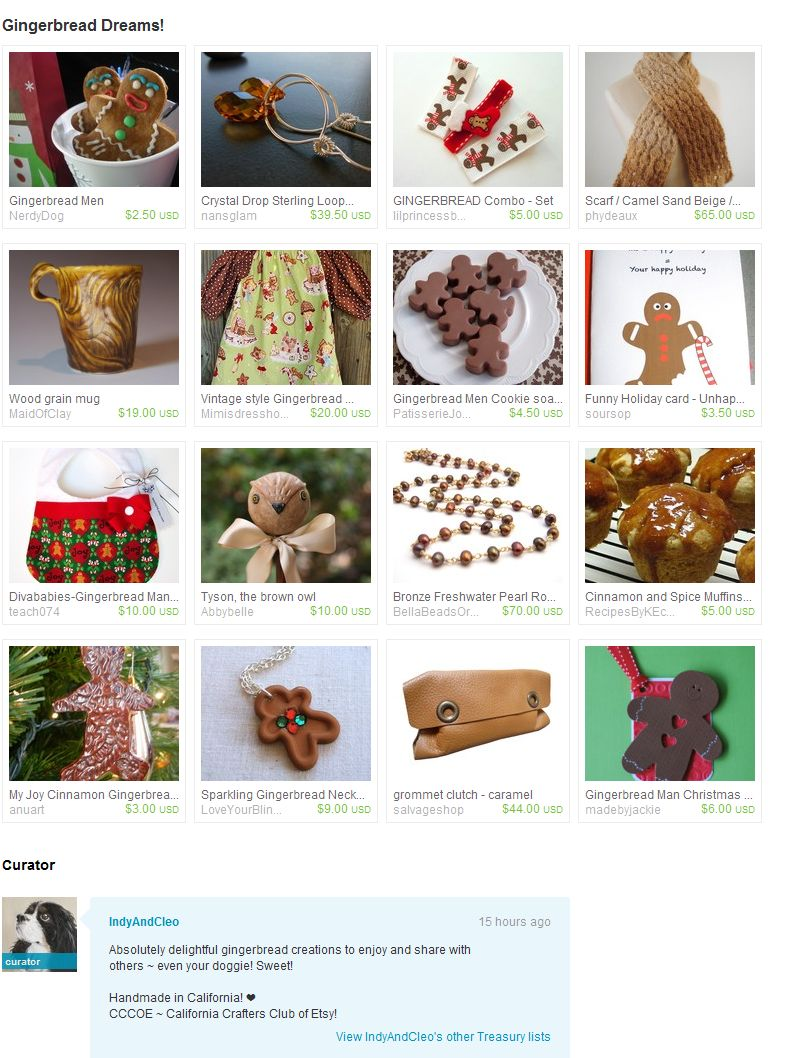 Gingerbread dreams treasury 12.21.10